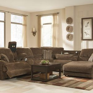 Incroyable Brown Chenille Sectional Sofa