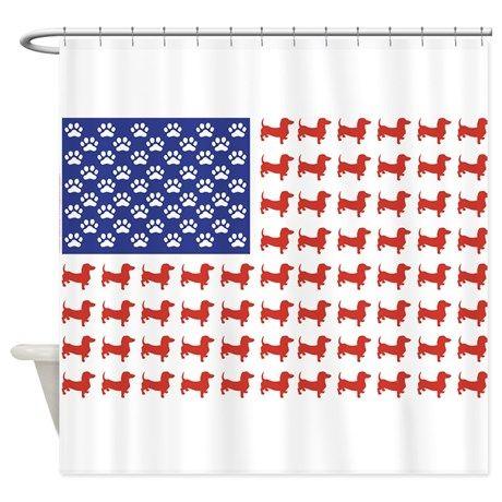 Patriotic Dachshund Usa Shower Curtain By Roxy407 Cafepress