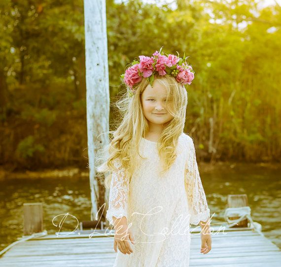 03d4357a31 The Chloe - Ivory Flower Girl Lace Dress