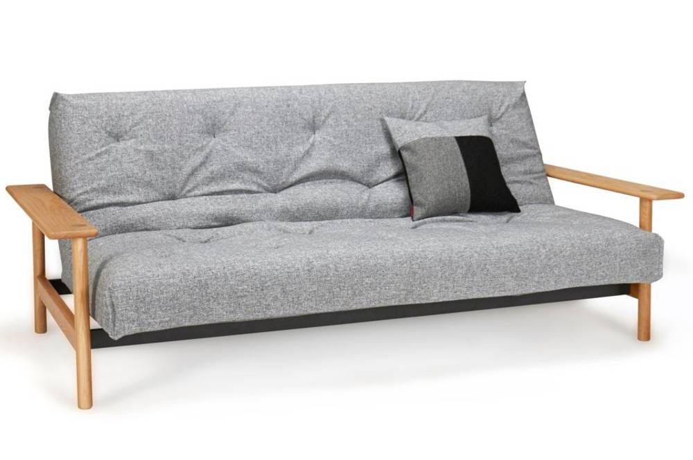 innovation living canap lit design balder gris granite convertible 140200 cm accoudoirs bois - Canape Lit 140