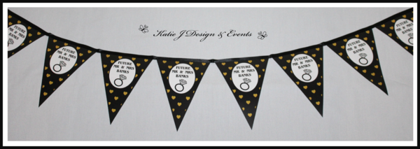 Pennant Banner Bunting #Gold #Glitter #Black #Hearts #Engagement #Party #Colour #Schemes #Bunting #Party #Decorations #Ideas #Banners #Cupcakes #WallDisplay #PopTop #JuiceLabels #PartyBags #Invites #KatieJDesignAndEvents #Personalised #Creative