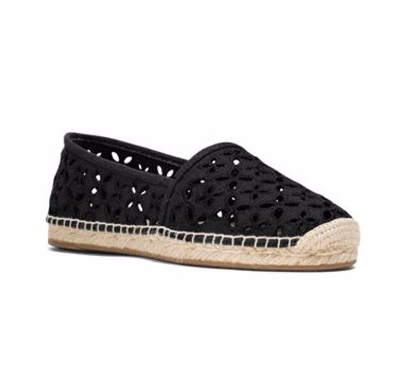 d2e0d905a87 MICHAEL KORS women DARCI SHOES Slip-On Canvas Loafer Espadrille BLACK size  9.5