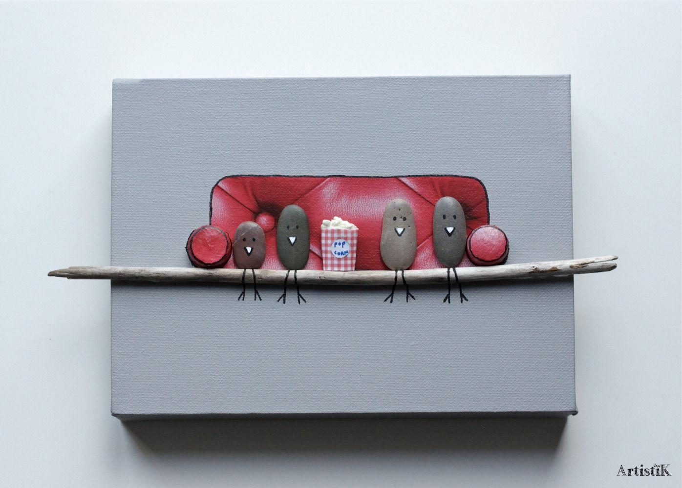 Tableau 3d galets oiseaux bois flott canap rouge fond for Tableau avec bois flotte