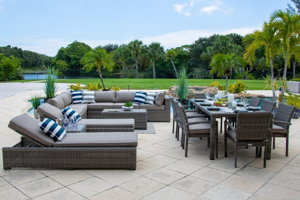 Tuscany 19 Piece Outdoor Patio Furniture Combination Set in Graycombination