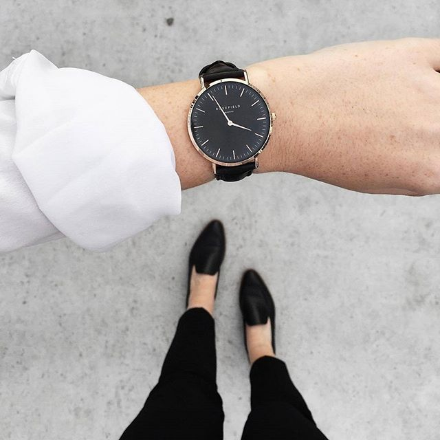 7c0263a14 Black Bowery women's watch - black leather band | ROSEFIELD Watches ...