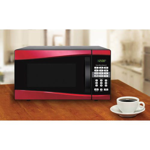 Digital Microwave 0 9 Cu Ft Red One Touch Cooking Popcorn