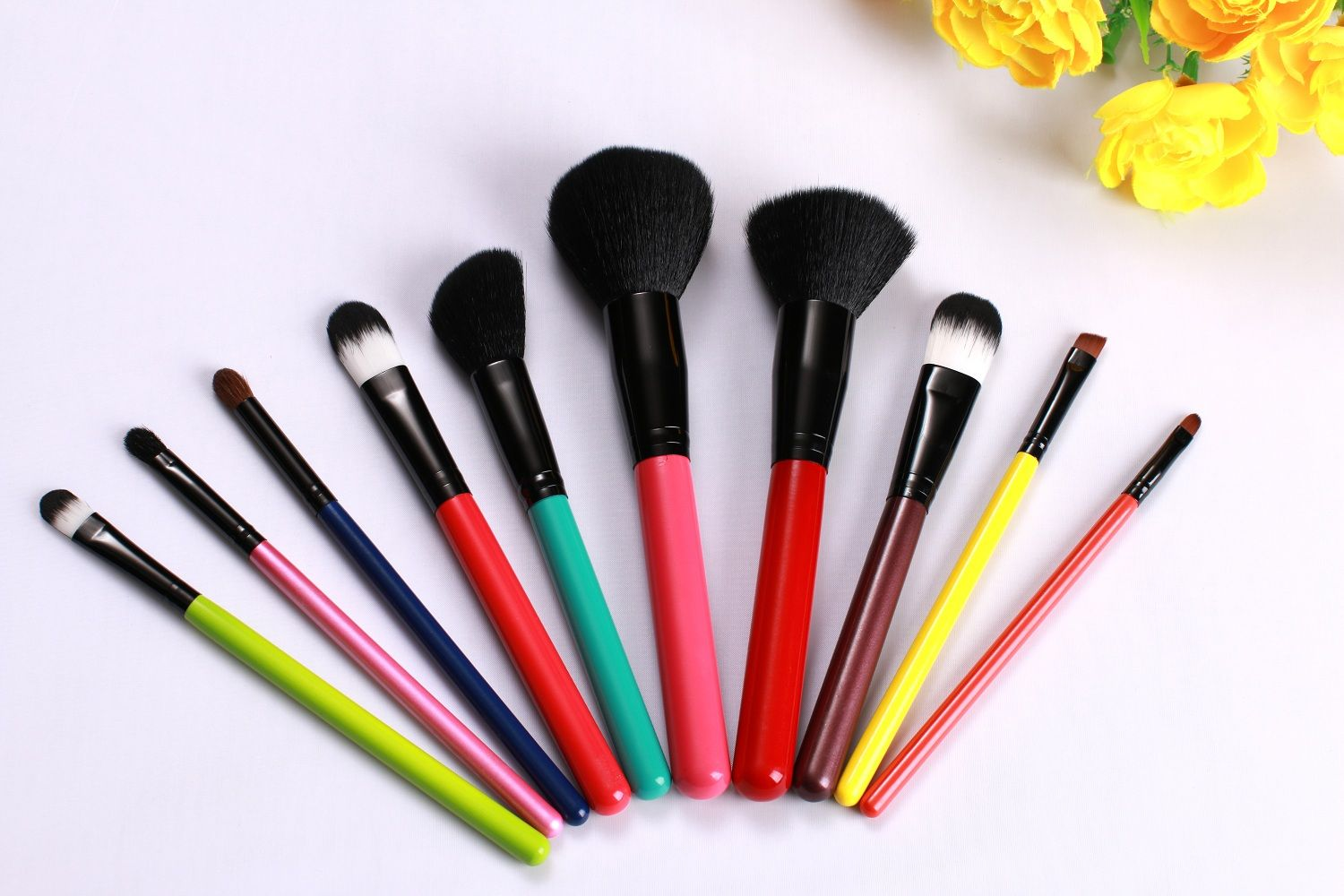 10Pcs Amazion Rainbow Makeup Brushes for FACE EYE