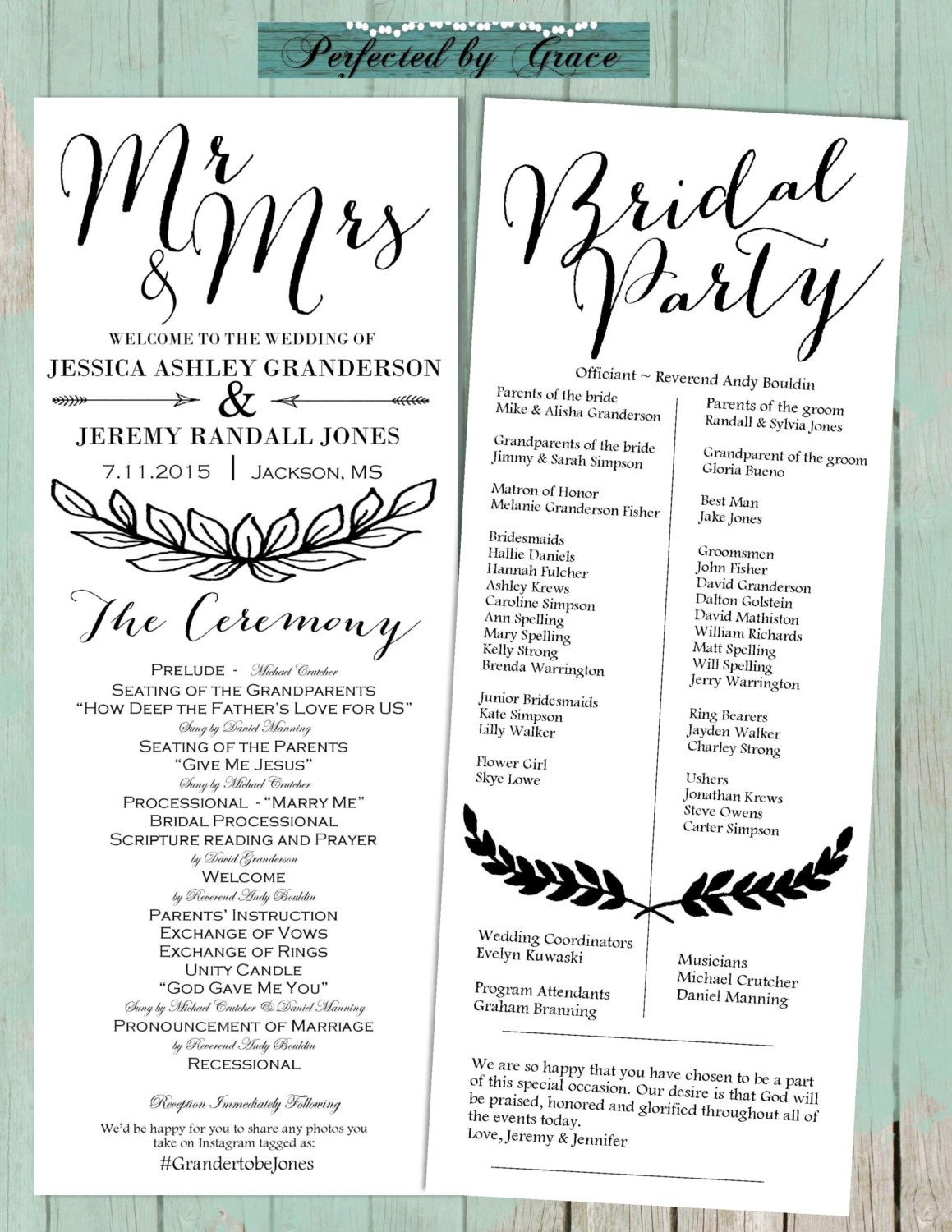 DIY Printable Bombshell Font Wedding Program Color Your Choice Ceremony Bridal Party Customize