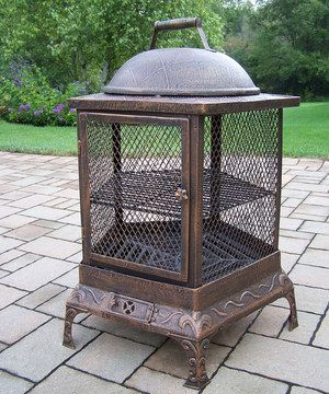 Add beauty, style and functionality to any outdoor living space with this handsome chimenea. This fire pit is just the thing to make outdoor gatherings last comfortably into the evening. Load it with up to five logs, or add charcoal to use it for grilling.