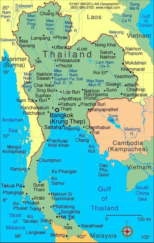 Map Of Thailand Asien Karte Thailand Reisen Myanmar