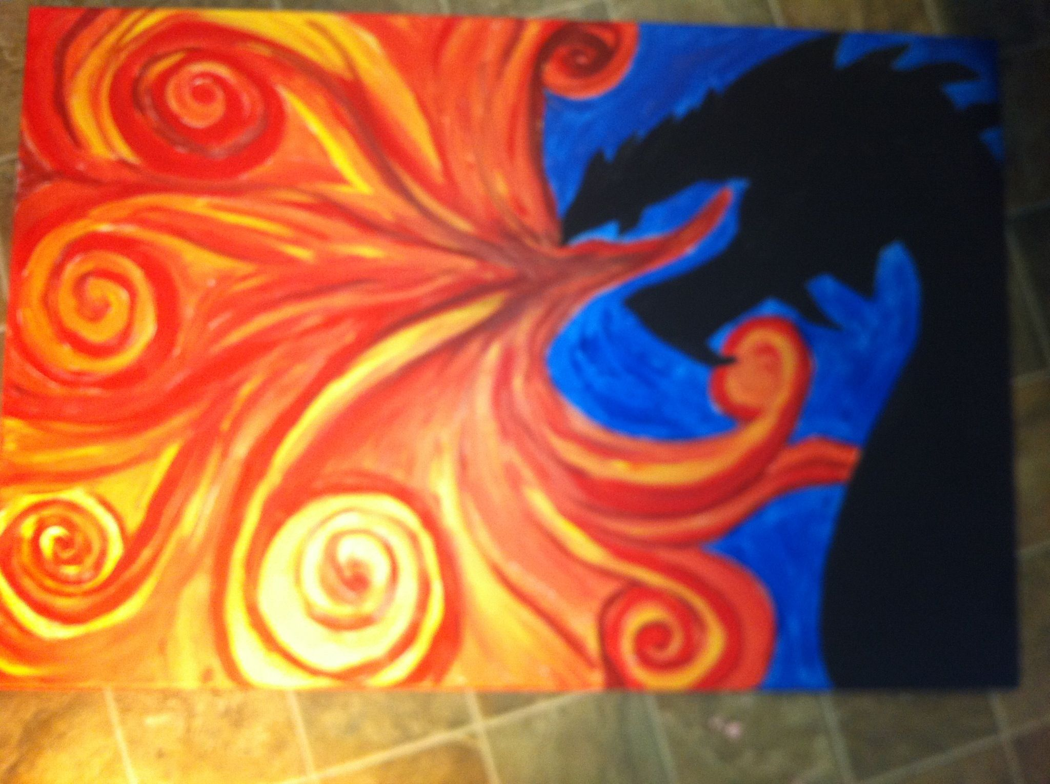 da7d9b48a Dragon painting that I did on canvas with acrylic--(pretty proud of this  one)~by Christy Thomas