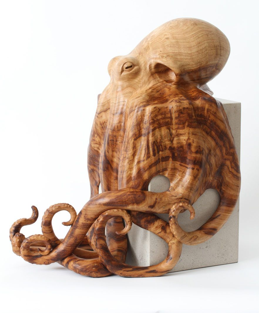 Octopus sculpture hand carved by award winning wildlife