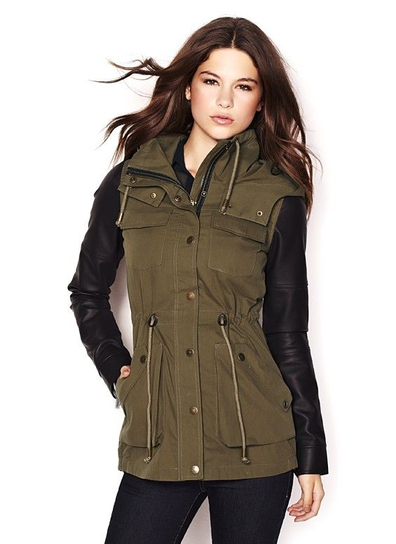 Parka Jacket With Faux Leather Sleeves on shopgarageonline.com ...