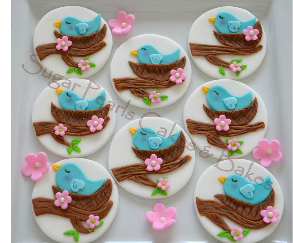 Blue Birdmommy Bird In Her Nest Fondant Cupcake Toppers For Baby