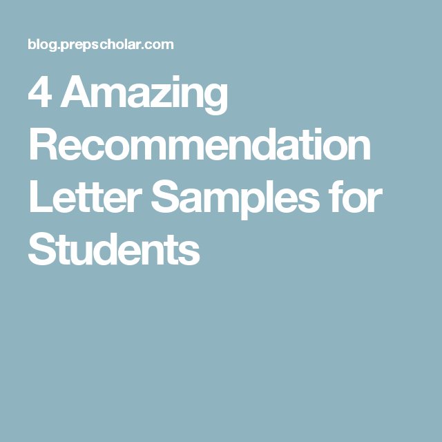 Amazing Recommendation Letter Samples For Students  Seminary