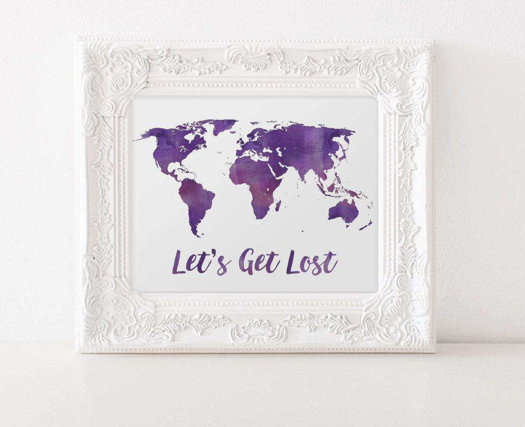 Purple watercolor world map print travel quote world map purple watercolor world map print travel quote world map watercolor map lets get gumiabroncs Gallery