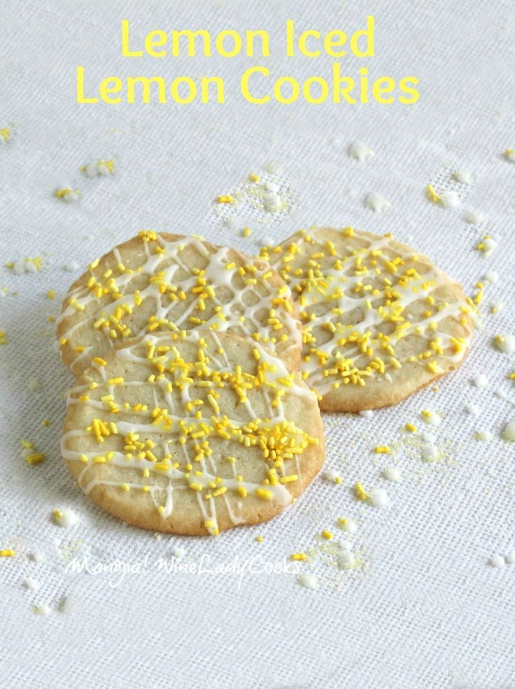 Lemon Iced Lemon Cookies are full of bright lemony goodness! The 'lemon icing' is so bright it makes you smile. Easy to make for any occasion! #lemon #cookies @Winelady Cooks
