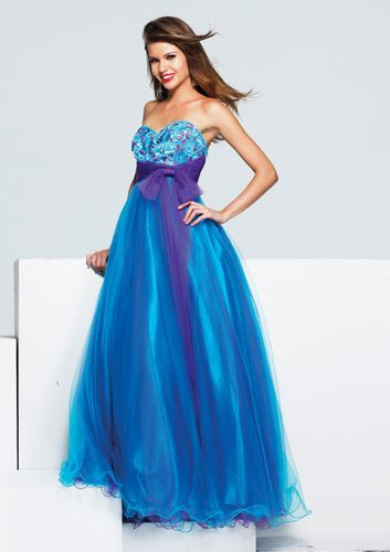 Purple & Turquoise Tulle Embroidered Strapless Empire Waist Bow ...