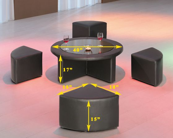 Modern Black Vinyl Round Coffee Table w/Tempered Glass and Four Mini ...