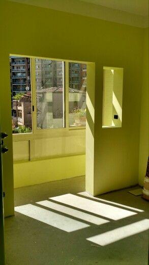 ex #cucina trasformata in #studio con pareti #tinteggiate ...