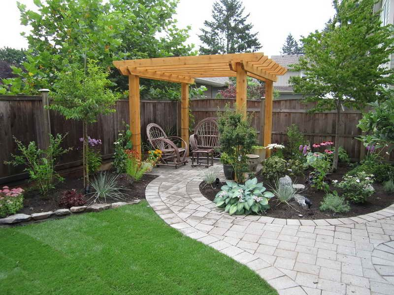 Cheap landscaping ideas for back yard gravel backyard for Pics of landscaped backyards