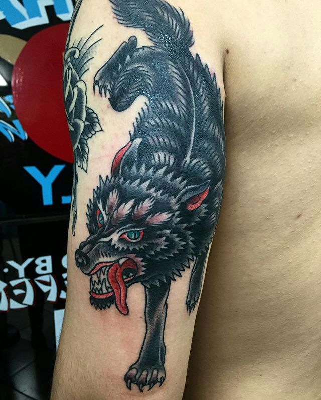 Traditional Wolf Done By Becca Roach At Queen Street