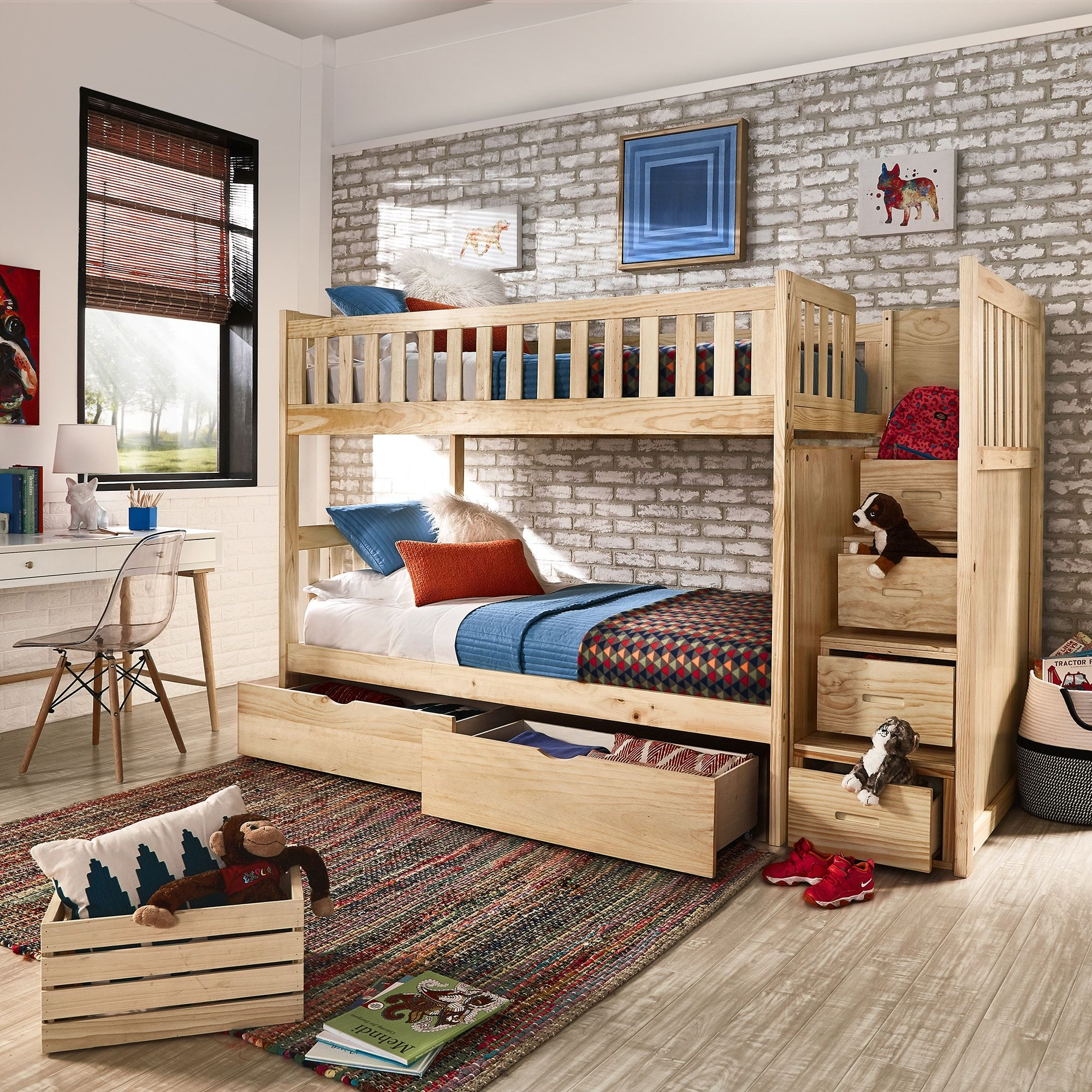 Best Hunter Twin Over Twin Natural Wood Storage Staircase Bunk 400 x 300