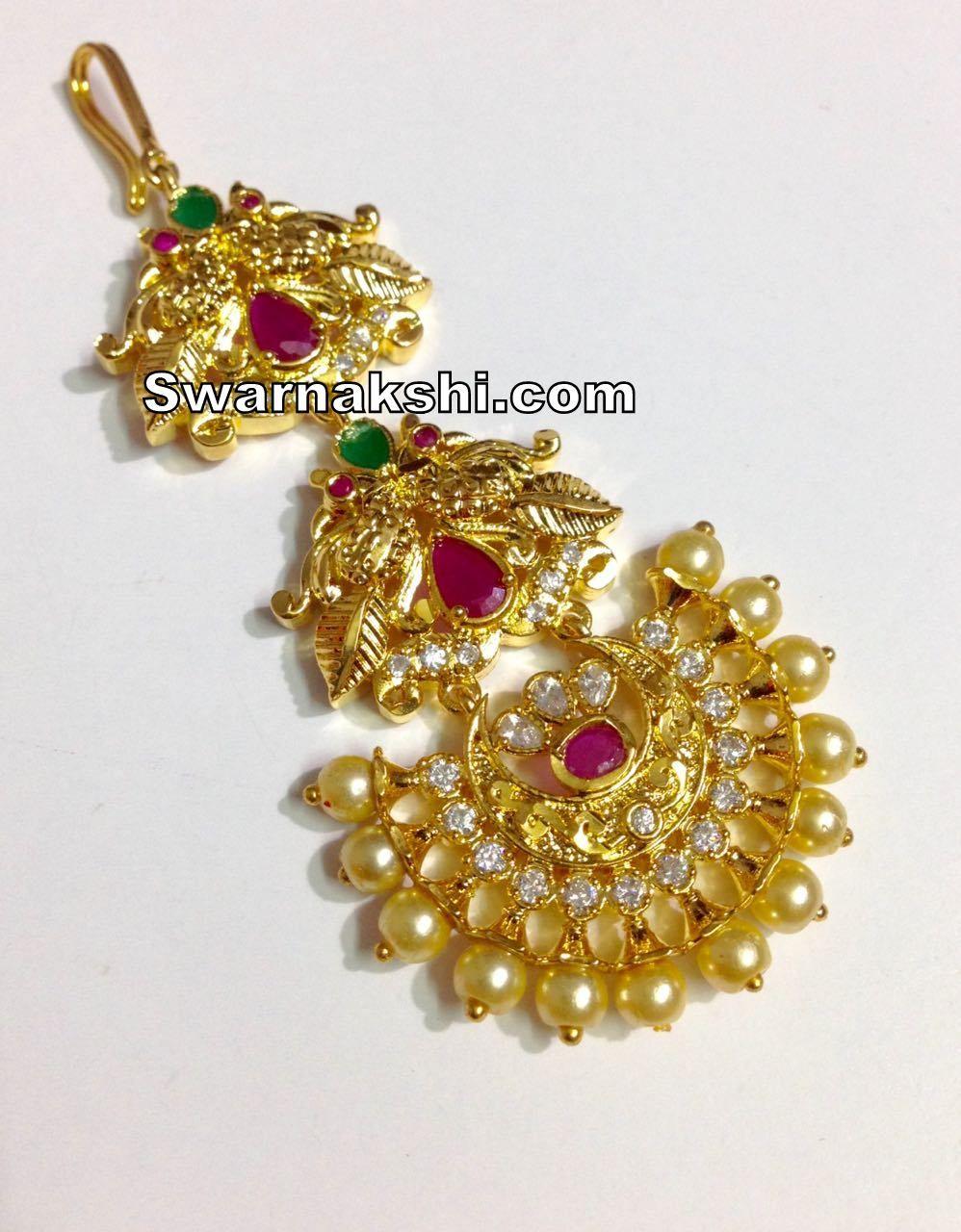 51a064b15f 1 gram gold maang tika ruby emerald floral collection #czstonejewellery  #imitationjewellery #czmaangtika #