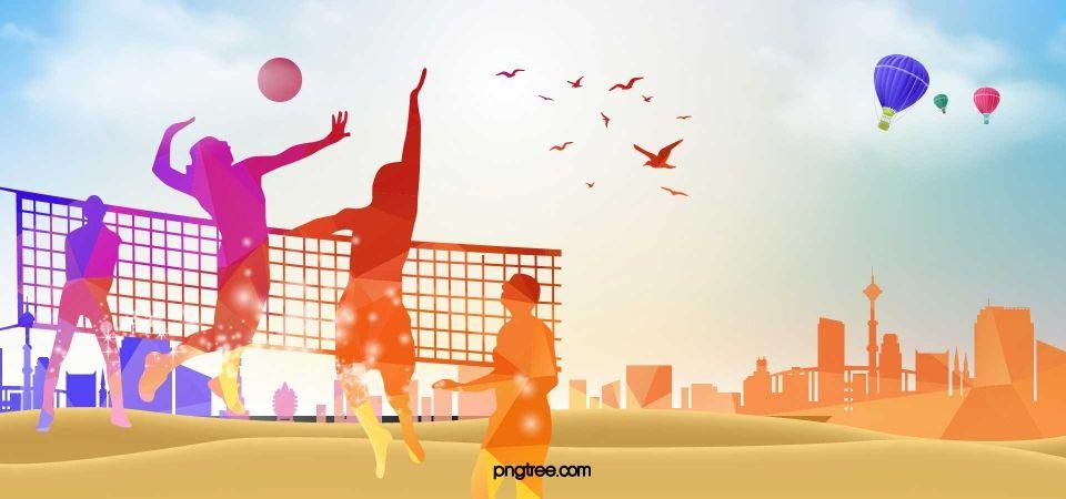 Pemain Bola Voli Sukan Latar Belakang Siluet Volleyball Players Sport Volleyball Volleyball Backgrounds