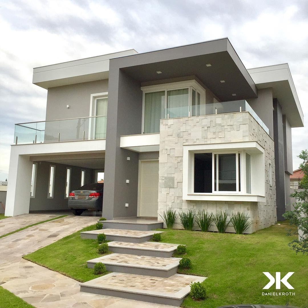 Modern Home Design Software Fresh Exterior Design Roof: Tons De Cinza Em Harmonia Com Revestimento De Pedra Nessa