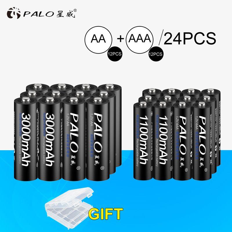 Universe Of Goods Buy Palo 12pcs 1 2v 3000mah Aa Batteries Aa Rechargeable Battery 12pcs 1100mah Aaa Batteries Ni Mh Aa Aaa Rechargeable Battery For Only 30