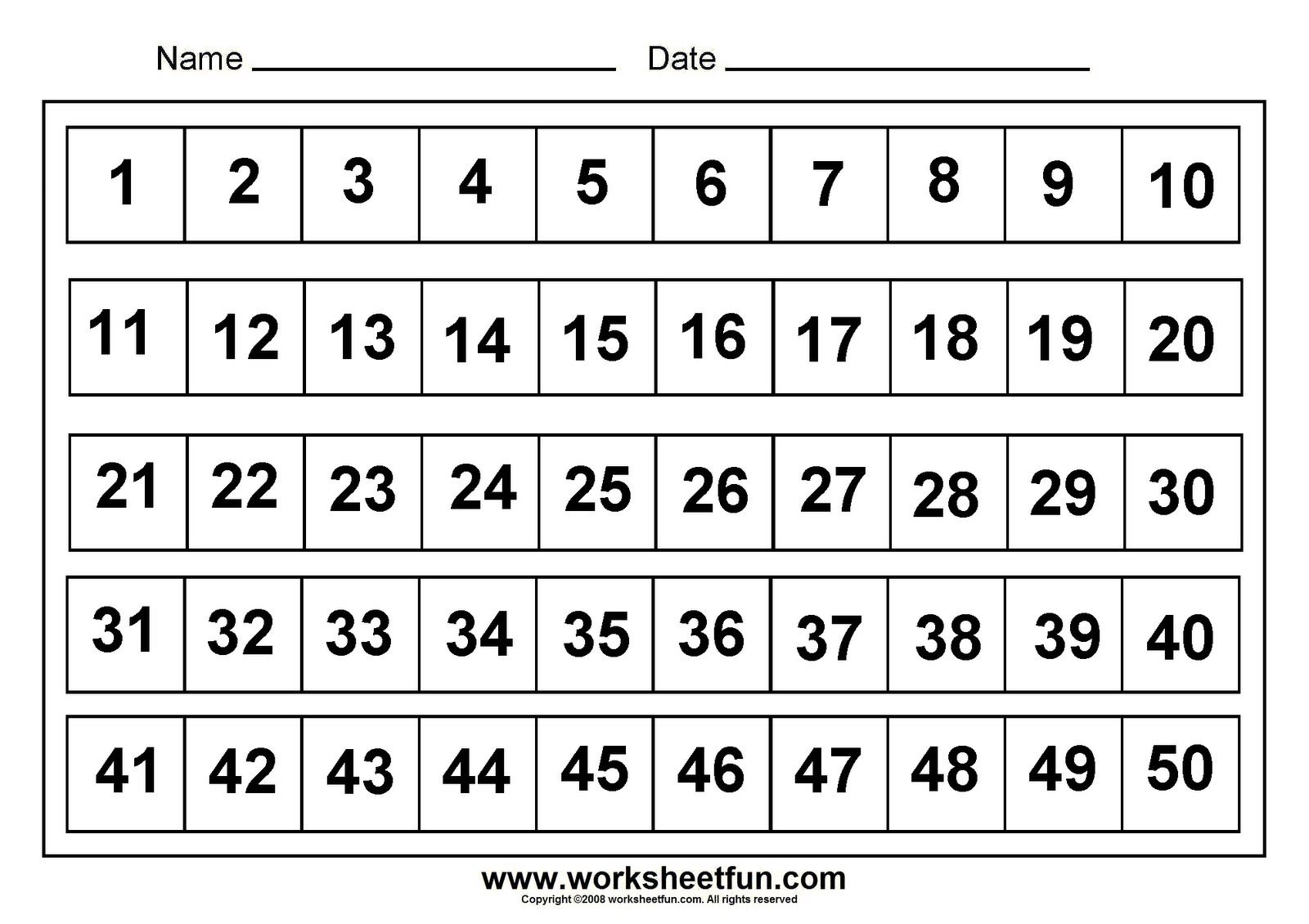 Numbers Assessments Number Chart