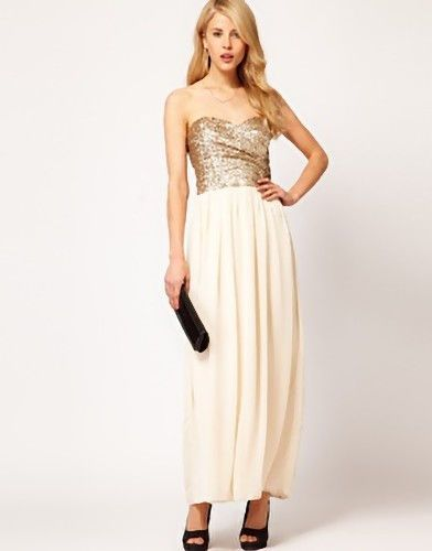 03b9d04546c NEW TFNC Maxi Dress with Sequin Bandeau Top   Chiffon Skirt