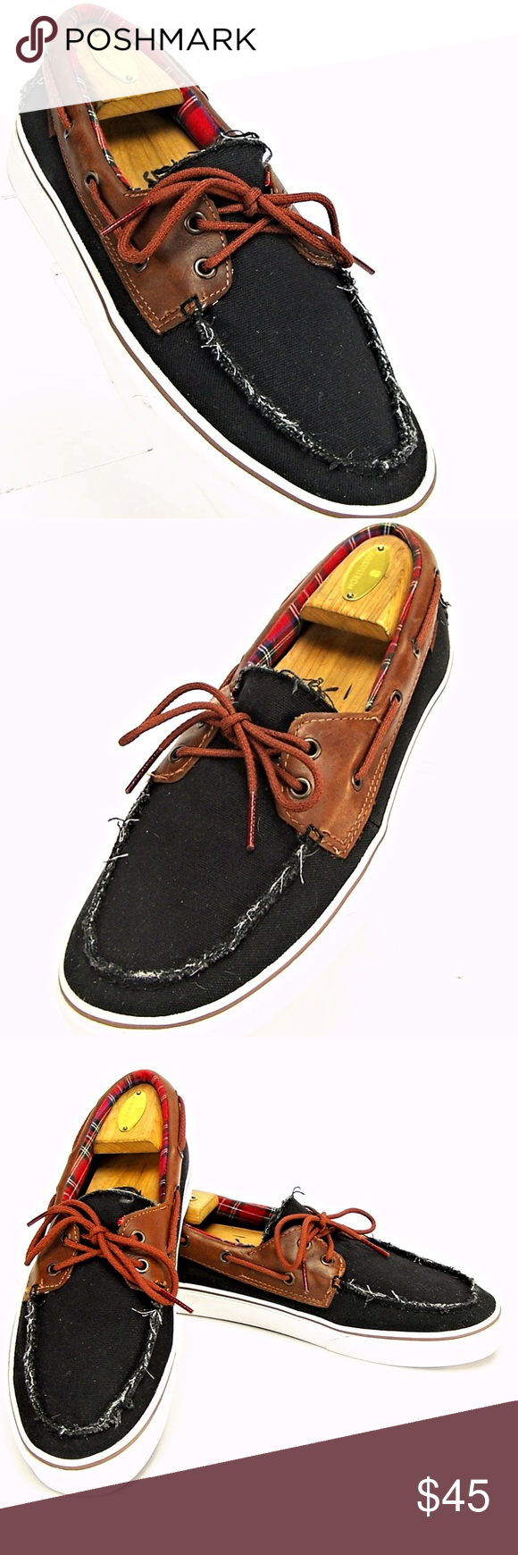 9adfd92747 VANS Men s Black  amp  Brown Lace-Up Shoes Top Siders VANS Off The Wall