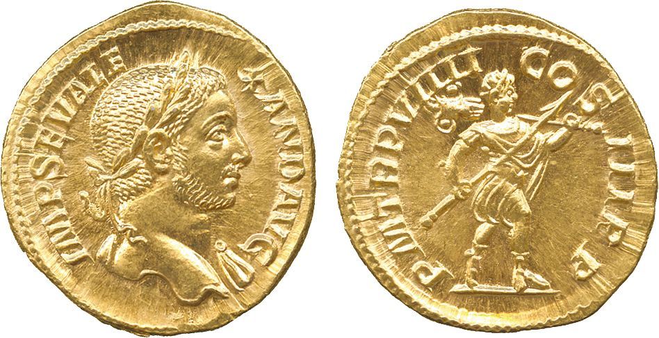 Imperial Rome AV Aureus struck 230AD Rome Mint 5.92g. Emperor Severus Alexander 222-35AD