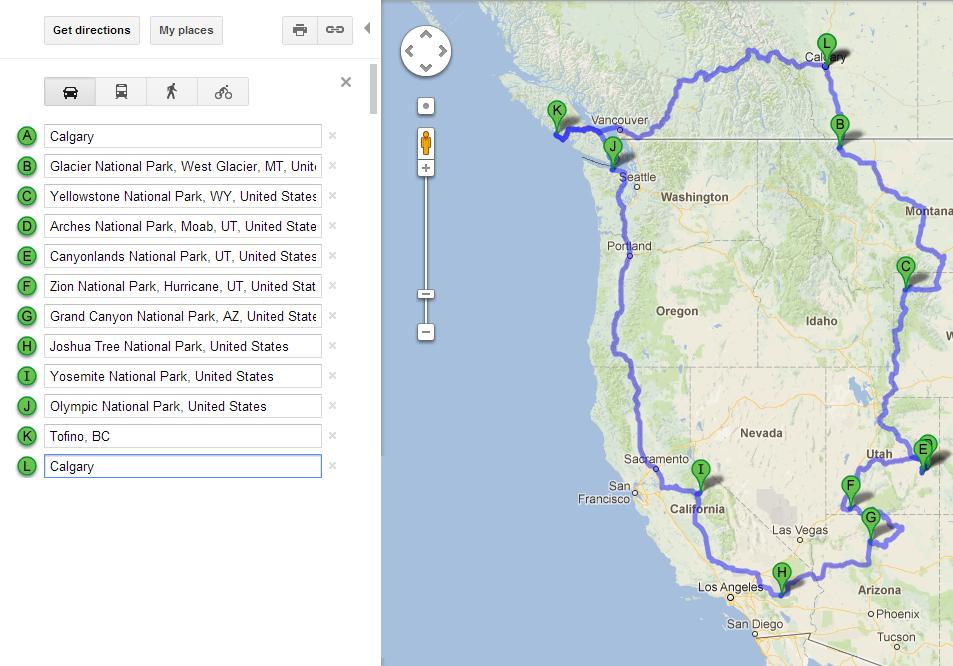 West Coast National Parks Roadtrip American Road Trips - Us national parks road trip map
