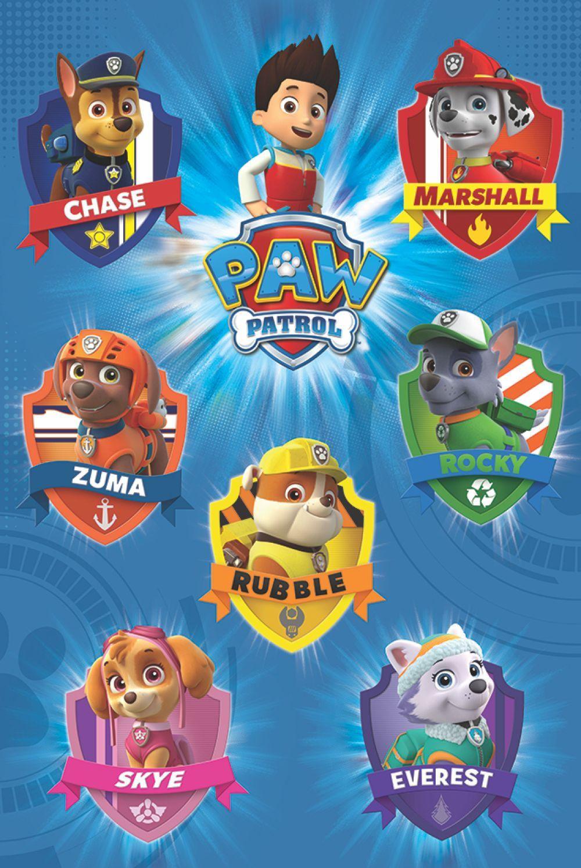 Poster: Paw Patrol - crests online te koop. Bestel je poster, je 3d filmposter of soortgelijk product Maxi Poster