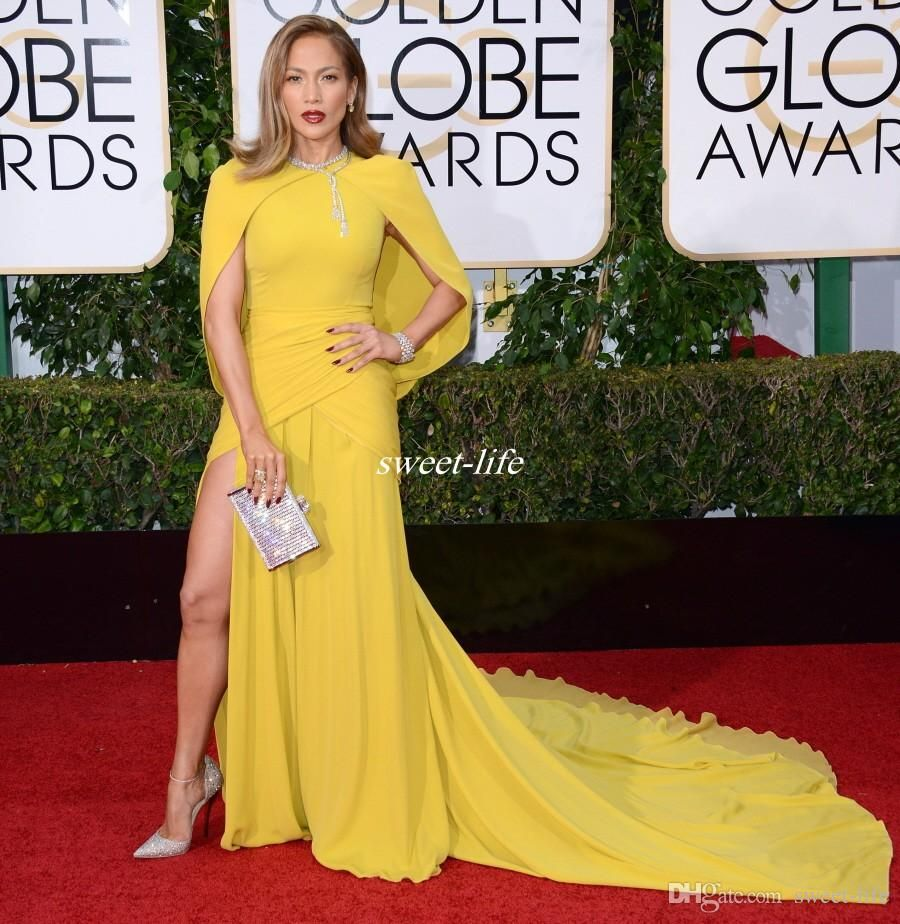Sexy rd golden globe red carpet celebrity dresses with cape
