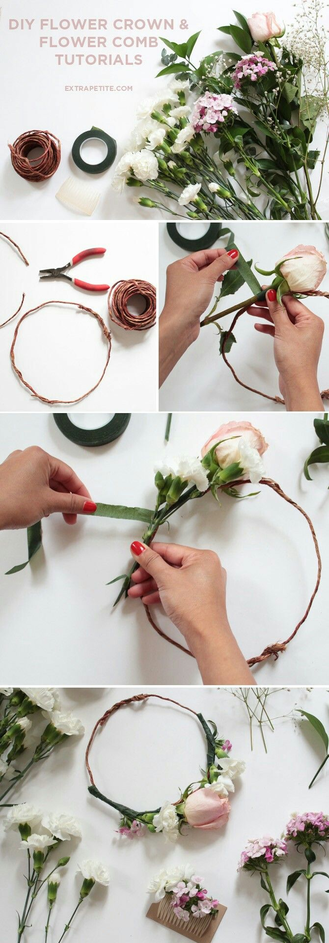 Pin by serena schaugaard on activity days pinterest flower flower crown comb diy tutorial bridal shower activity a more simple tutorial for everyone the day of izmirmasajfo