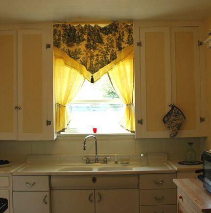 French Country Kitchen Curtain   curtains add a touch of french country styl  French Country Kitchen Curtain   curtains add a touch of french country style to this vintag...