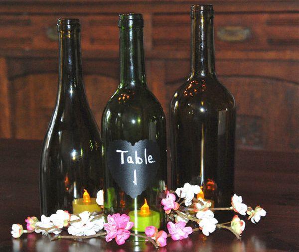 Hochzeit Tisch Nummer Idee Flaschen Deko