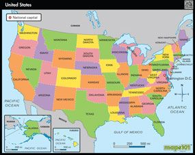 Primary Level United States Political United States Wall Map from