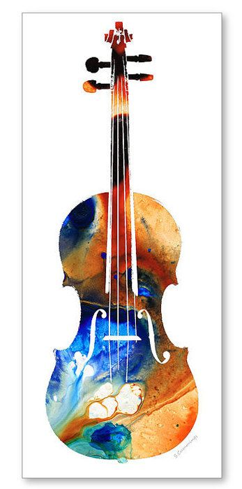 Violin Art Print from Painting Colorful Bold Music Lover Musical Instrument Strings CANVAS Ready To Hang Large Artwork Classy Contemporary