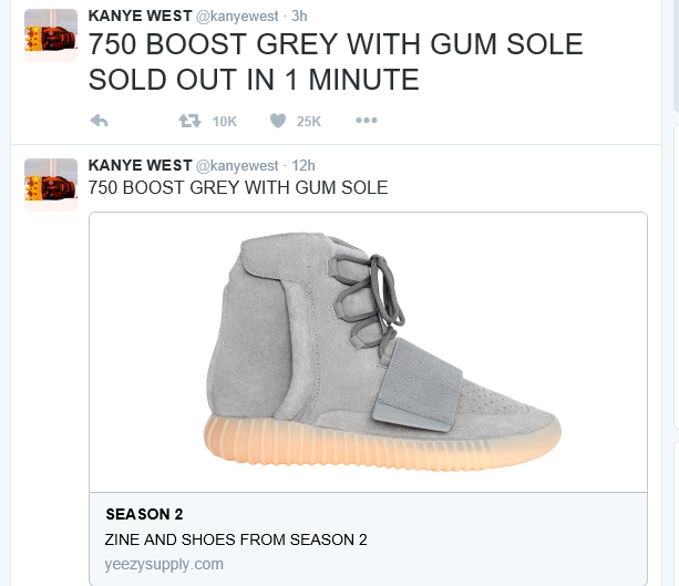 Kanye West who announced the sale of the Adidas Yeezy Boost 750 Grey Gum  last week launched its sale online yesterday and it sold out. The Yeezys whi