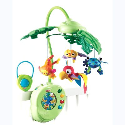 Fisher Price Rainforest Peek a Boo - K3800 K3799 The Fisher-Price Rainforest Motion and Music Mobile brings the magic of the rainforest to the side of babys crib. Leaves slowly move up and down while the 3 detachable rainforest characters spin as th http://www.comparestoreprices.co.uk/childs-toys/fisher-price-rainforest-peek-a-boo--k3800-k3799.asp