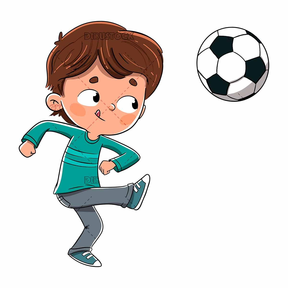 Boy Playing Soccer Kicking The Ball Vector In 2020 Soccer Drawing Boys Playing Football Drawing