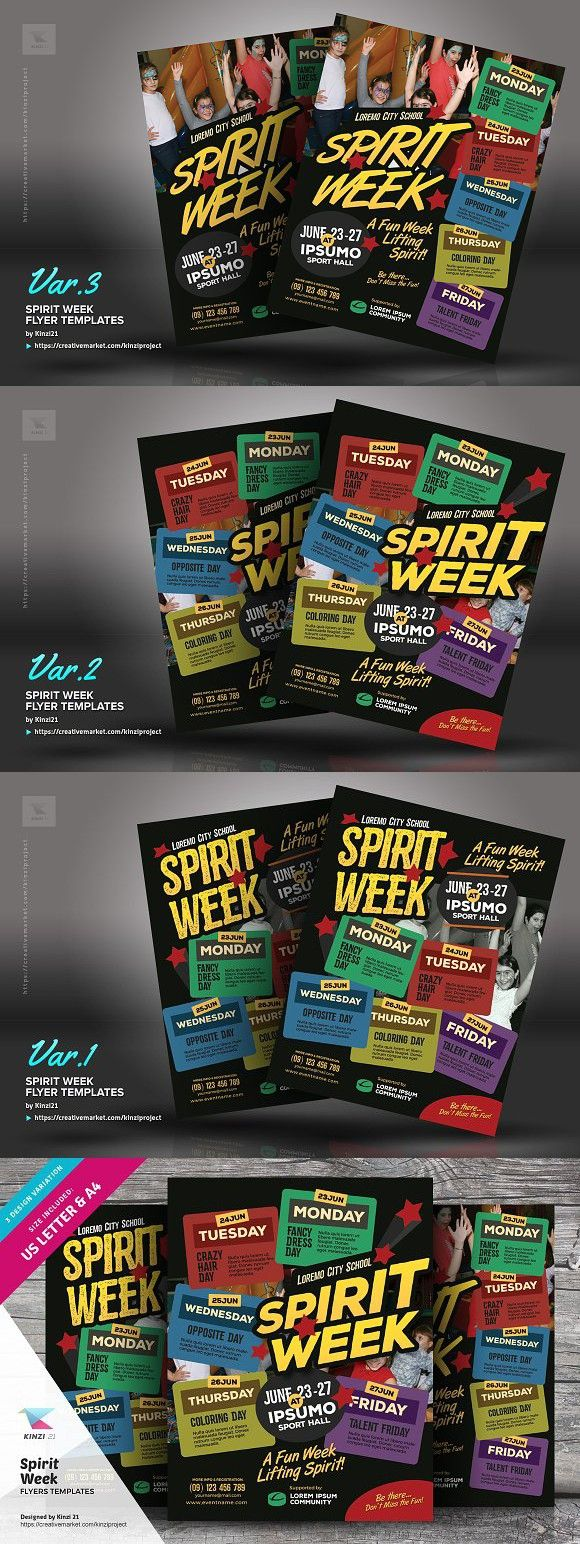 spirit week flyer templates