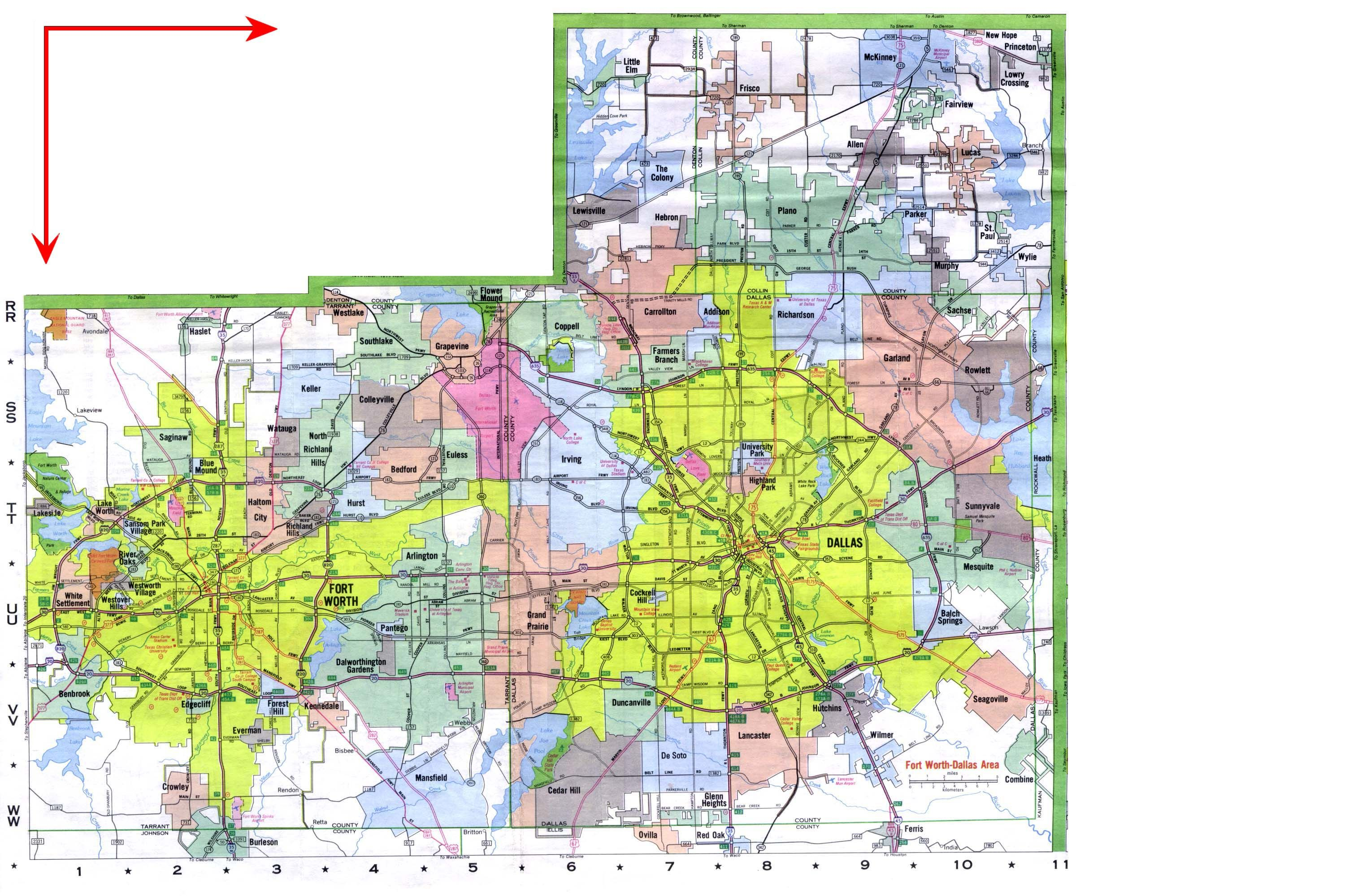 Map of Dallas Fort Worth neighborhoods Towns Pinterest Fort