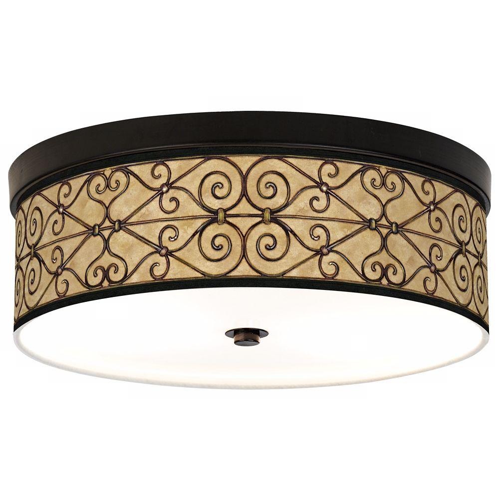 Trellis Hearts Giclee Bronze Cfl Ceiling Light 27j86 Lamps Plus Ceiling Lights Glass Ceiling Lights Bronze Ceiling Lights