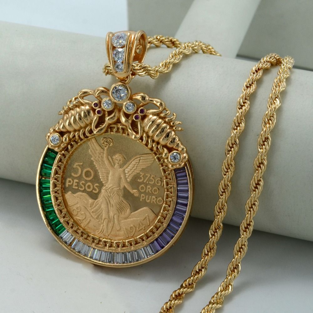 Big coin necklaces for womenmen gold plated u copper mexican peso